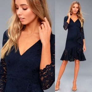 Make Time For Me Navy Blue Lace Midi Dress LuLus